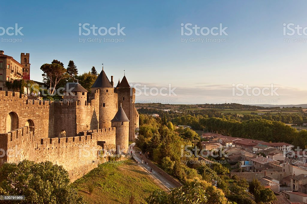 Medieval fortified city of Carcassonne, France stock photo