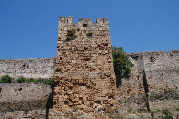 Medieval fortified wall, Rhodes stock photo