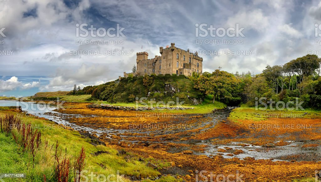 Medieval fortress Dunvegan Castle (Isle of Skye, Scotland) stock photo