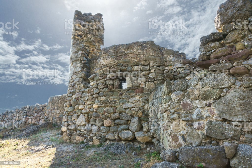 Medieval fortress Funa, located on the Rocky Hill at the foot of the mountain South Demerdzhi. Crimea. stock photo