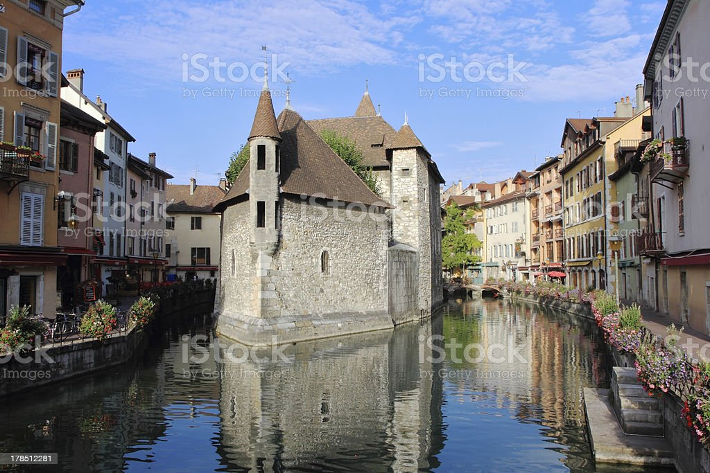 Medieval fortress-prison in the Annecy stock photo