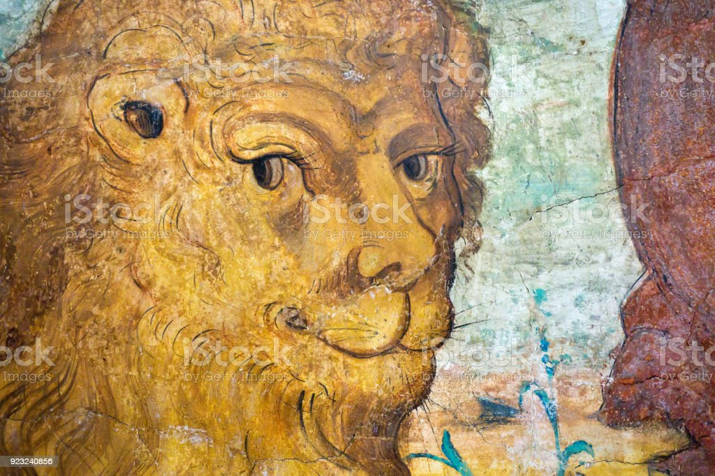 Medieval fresco painting of a smiling lion stock photo