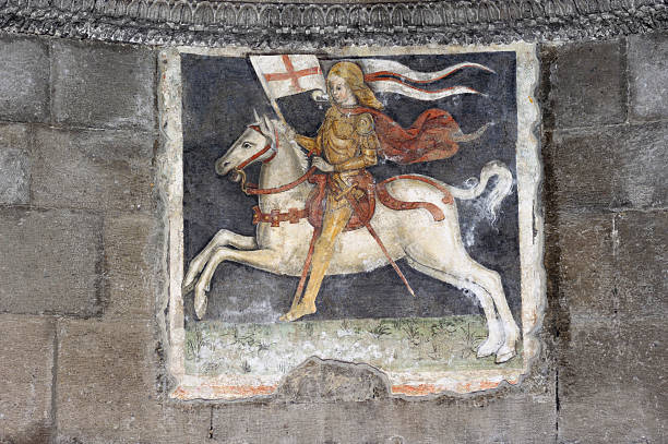 medieval fresco - the crusades stock photos and pictures