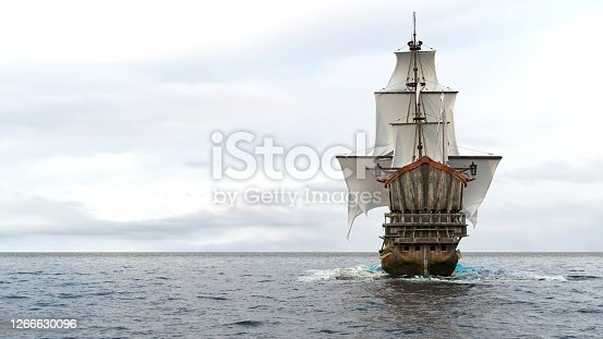 istock A medieval frigate sailing on a boundless blue sea. Concept of sea adventures in the middle ages. 3D Rendering. 1266630096