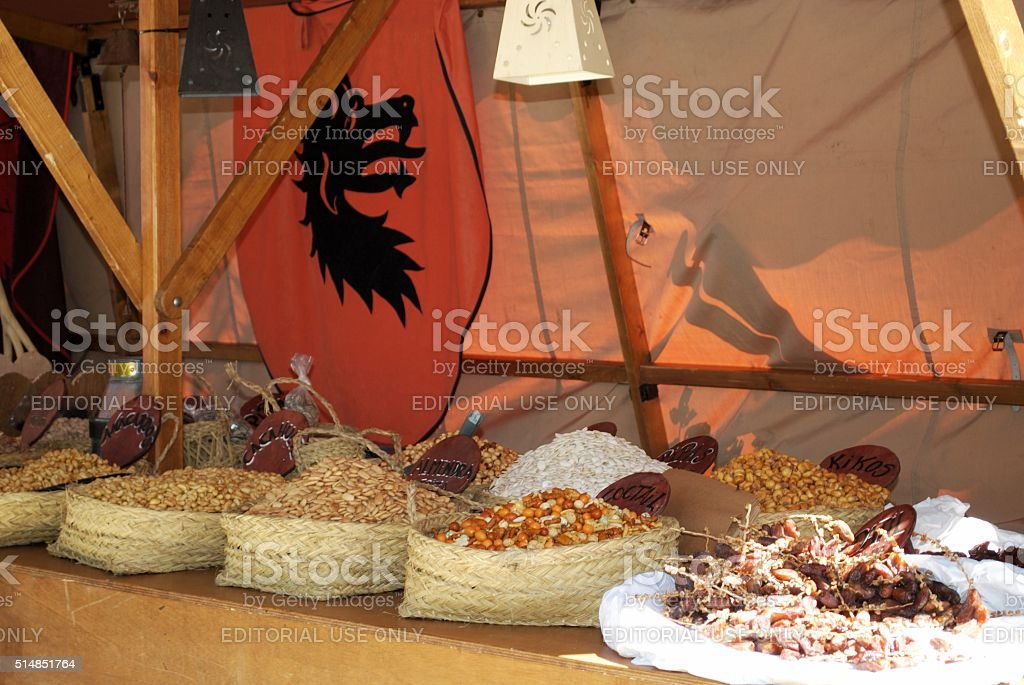 Medieval Fruit And Nut Stall Barbate Stock Photo & More Pictures of