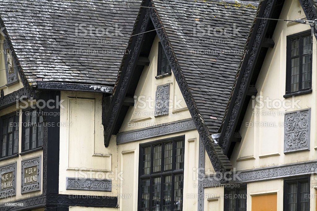 Medieval gables in Nottingham royalty-free stock photo