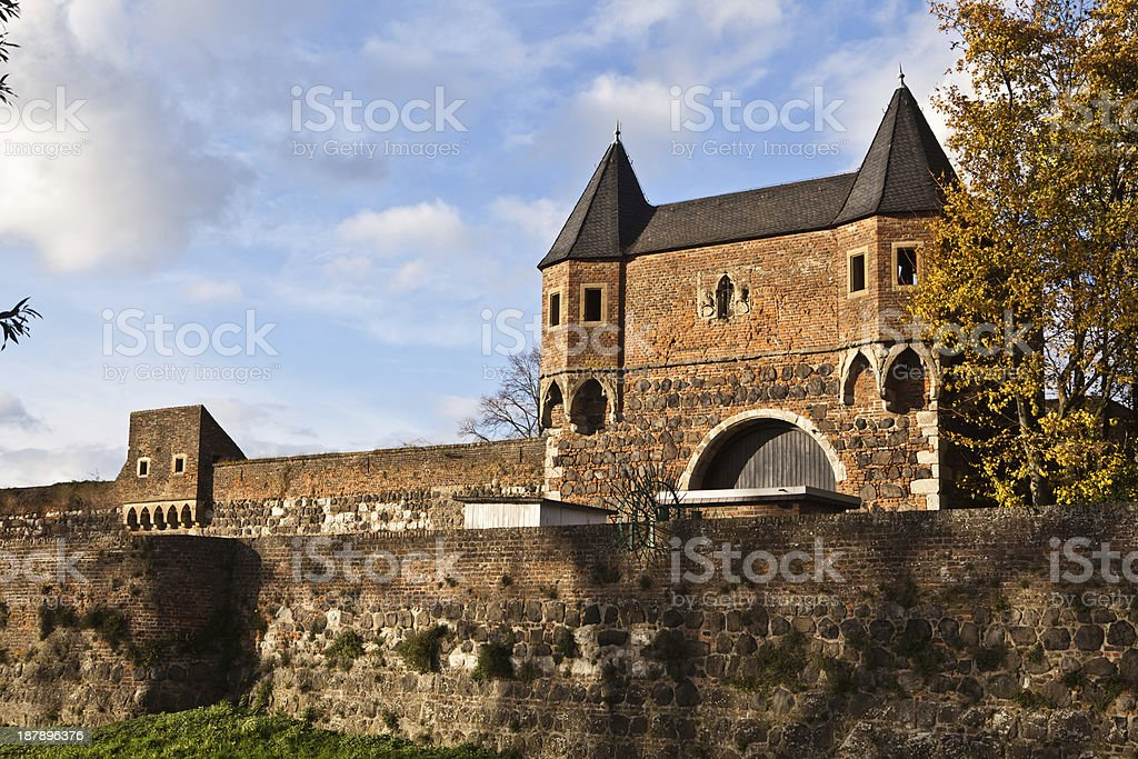 medieval gate and town wall stock photo