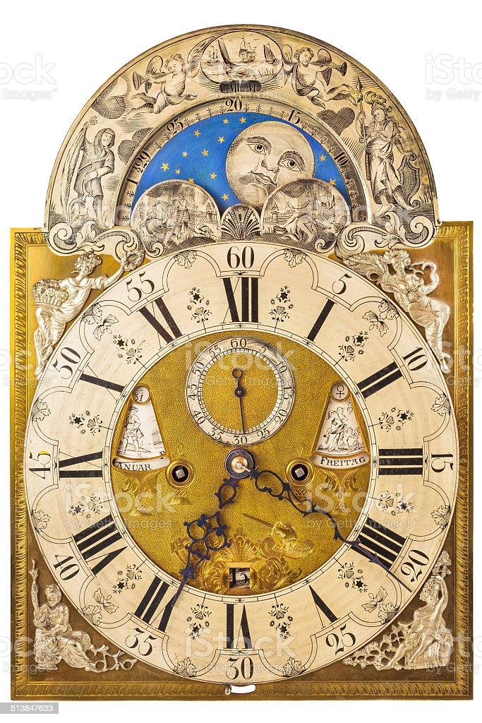 Medieval German clock isolated on white stock photo