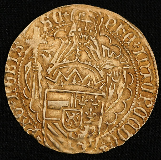 Medieval Gold coin stock photo