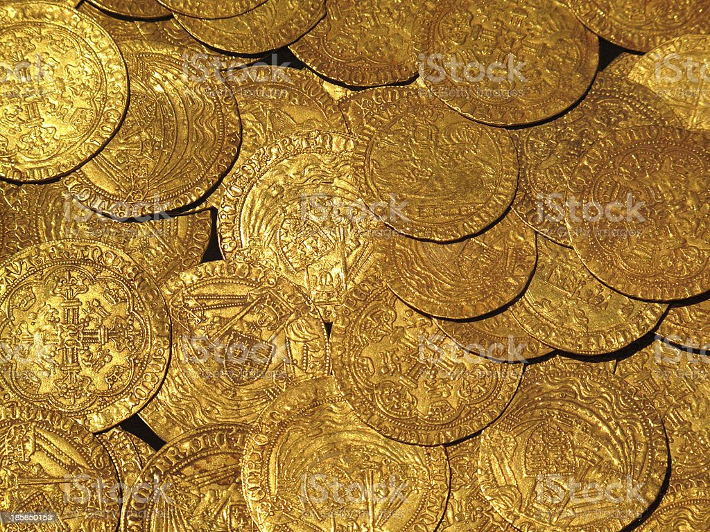 Medieval Gold Coins stock photo