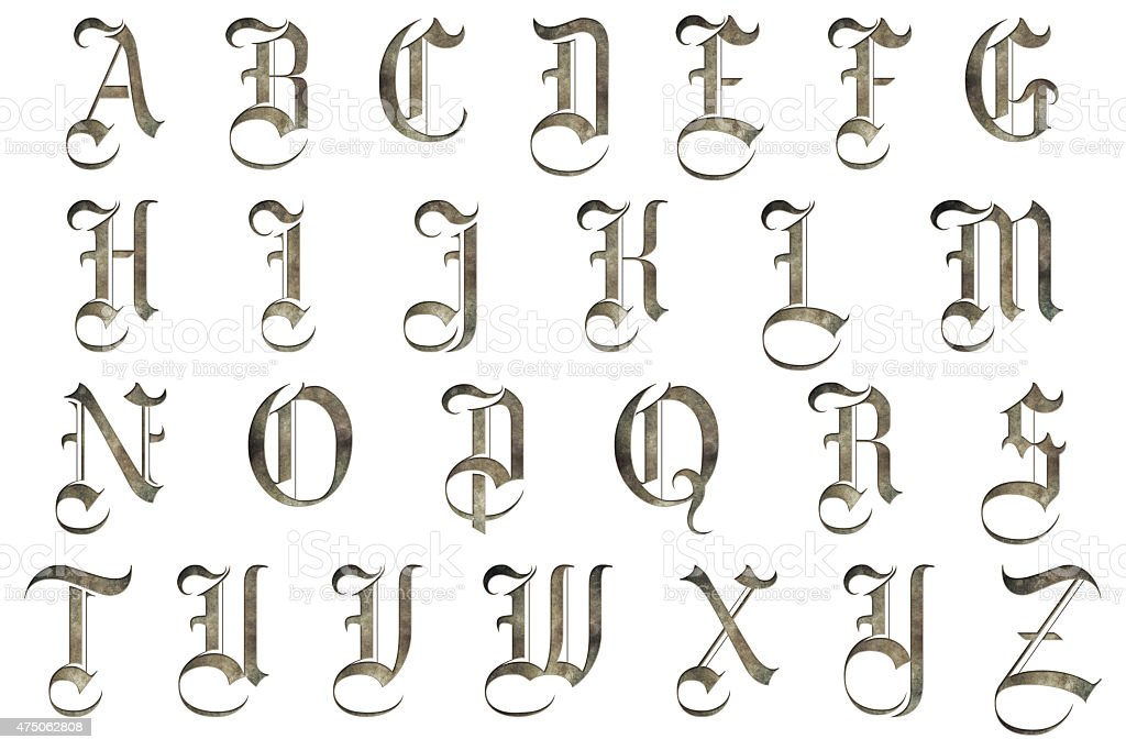 Medieval Gothic Alphabet Collection stock photo