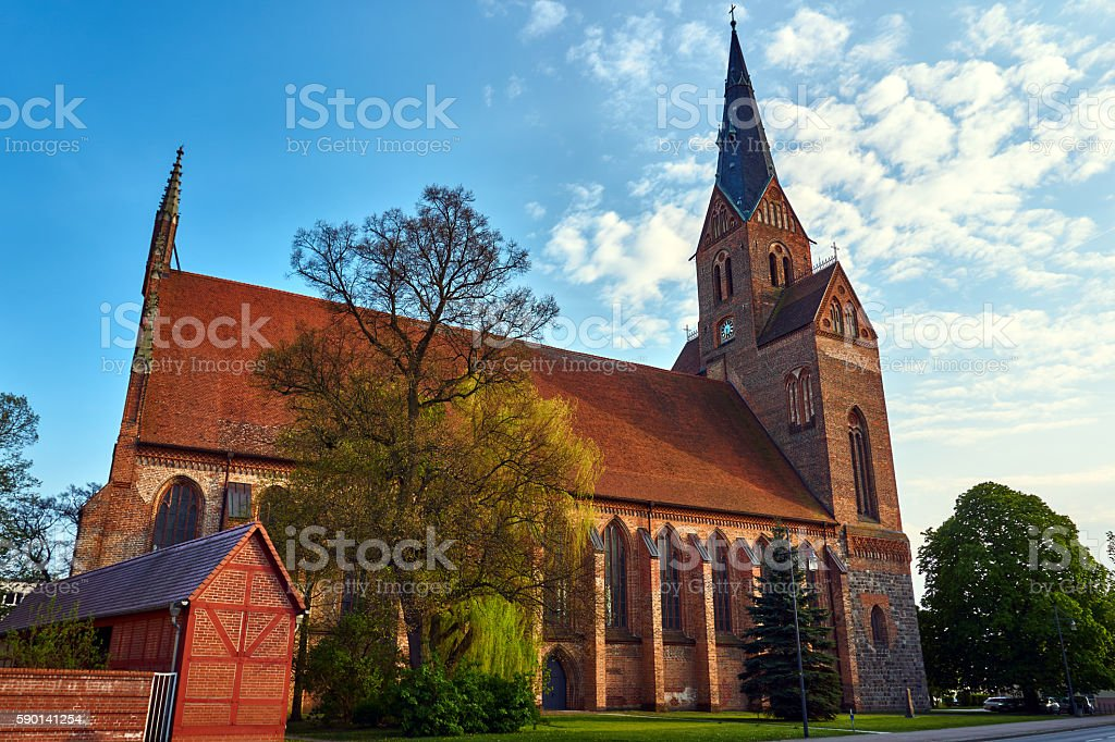 Medieval Gothic church with a bell tower stock photo