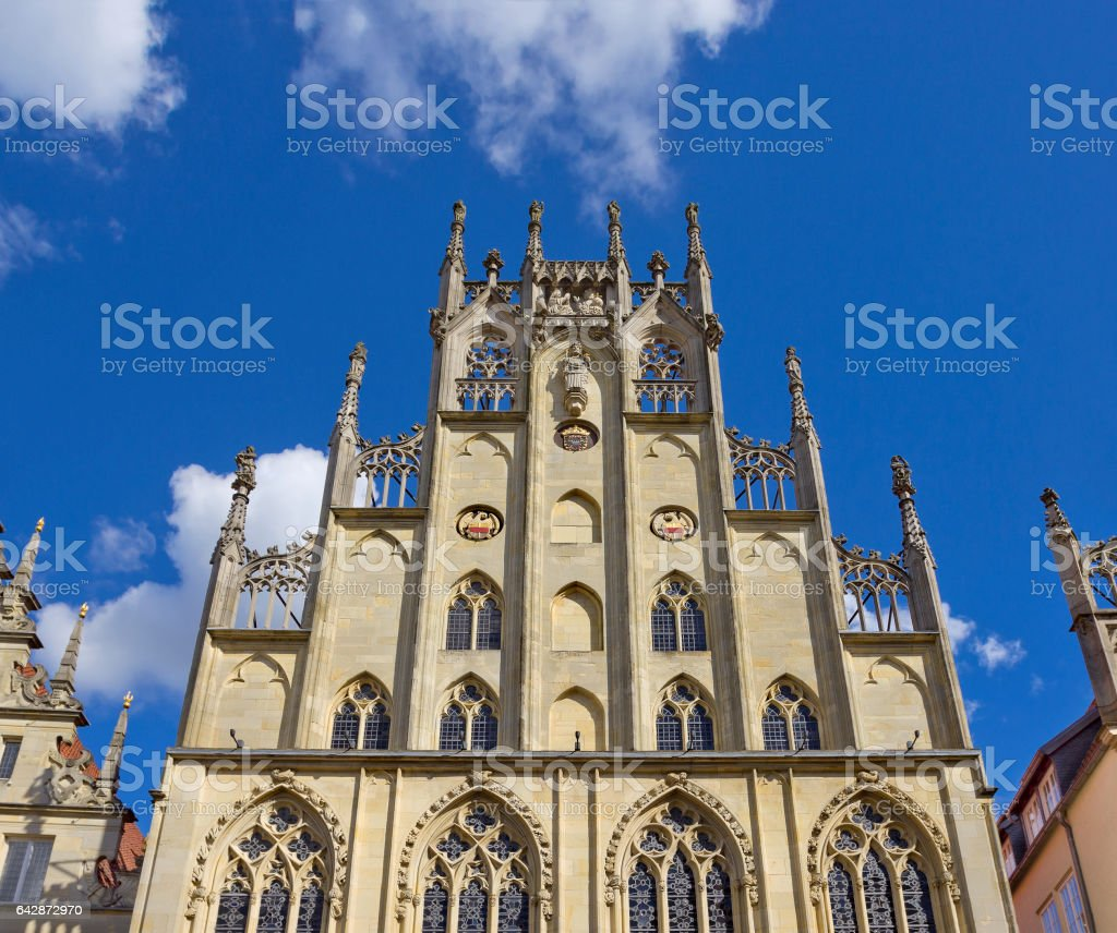 Medieval gothic Historical City Hall in Munster, Germany stock photo