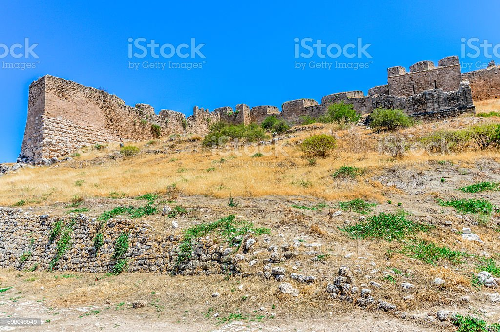 Medieval Greek fortress of Acrocorinth against clear blue sky royalty-free stock photo