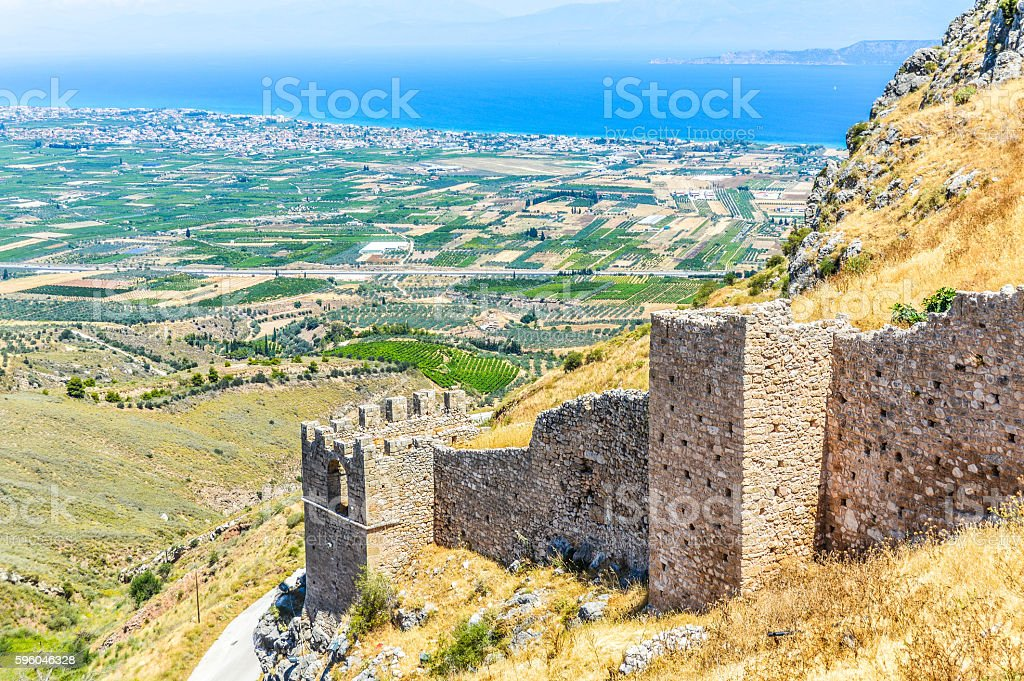 Medieval Greek fortress of Acrocorinth royalty-free stock photo