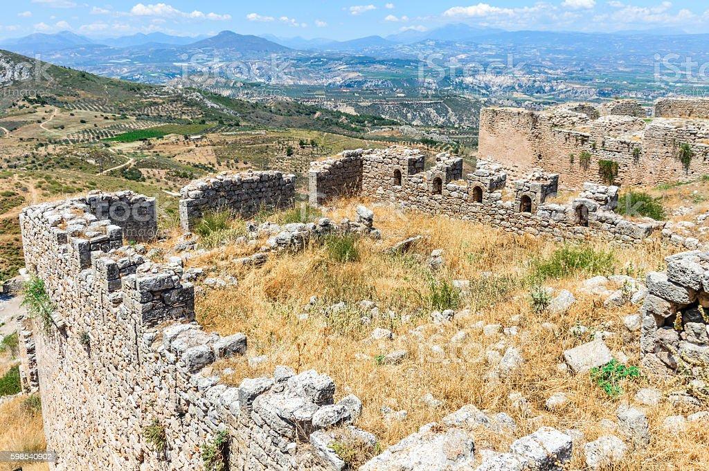 Medieval Greek fortress of Acrocorinth photo libre de droits