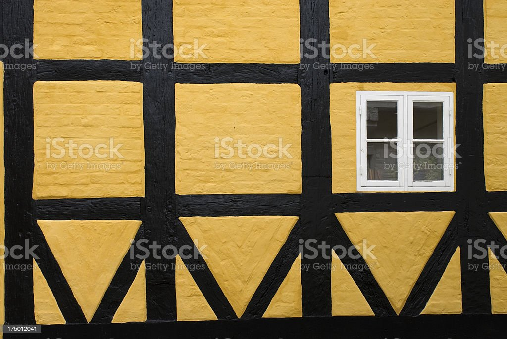 Medieval half-timbered and brick house in Ribe, Denmark. stock photo