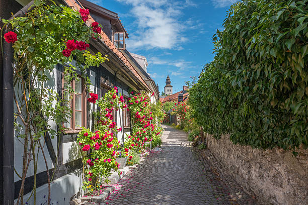 Medieval Hanse town Visby in Sweden stock photo
