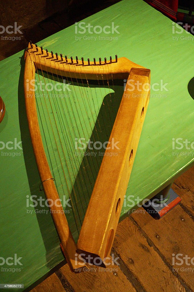 Medieval Harp at Dover castle stock photo