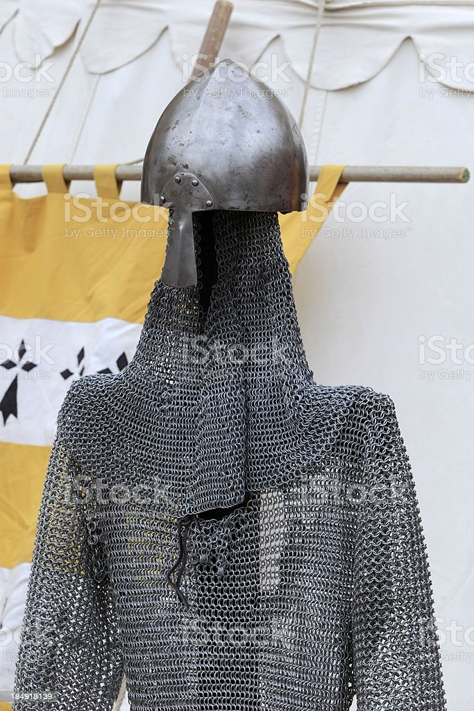 medieval helmet and chainmail royalty-free stock photo