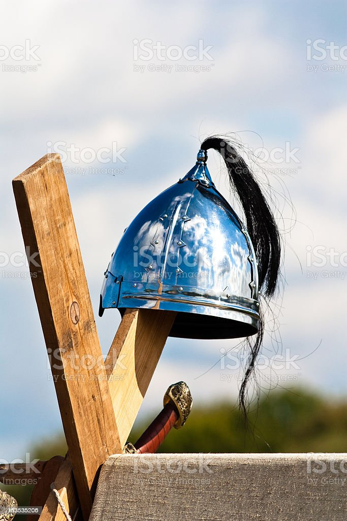 Medieval helmet stock photo