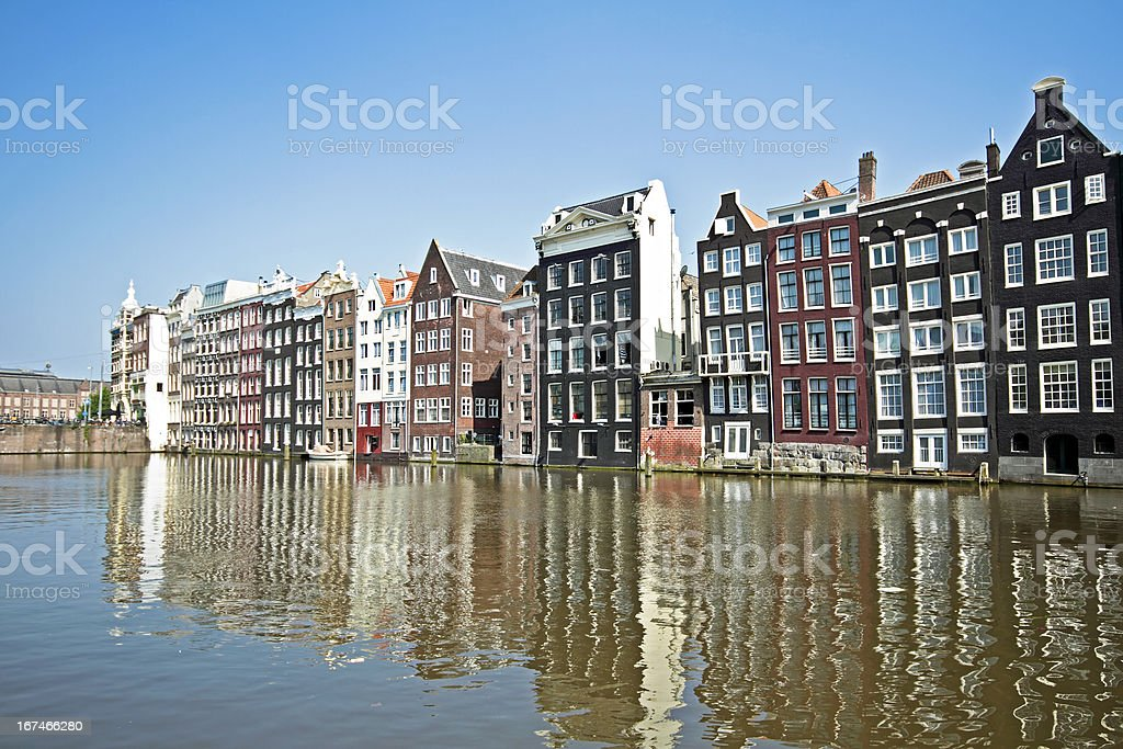 Medieval houses along a canal in Amsterdam the Netherlands royalty-free stock photo