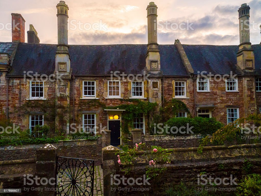 Medieval Houses at Vicar's Close, England stock photo