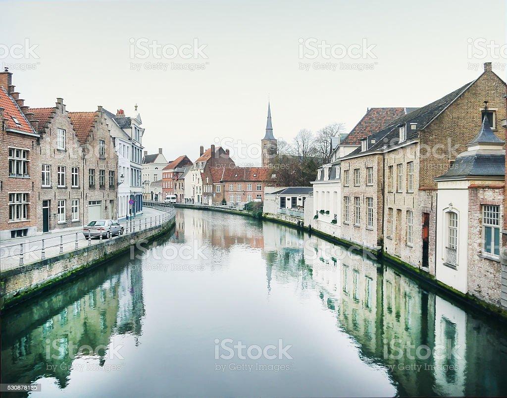 Medieval houses in Bruges town, West Flanders, Belgium stock photo