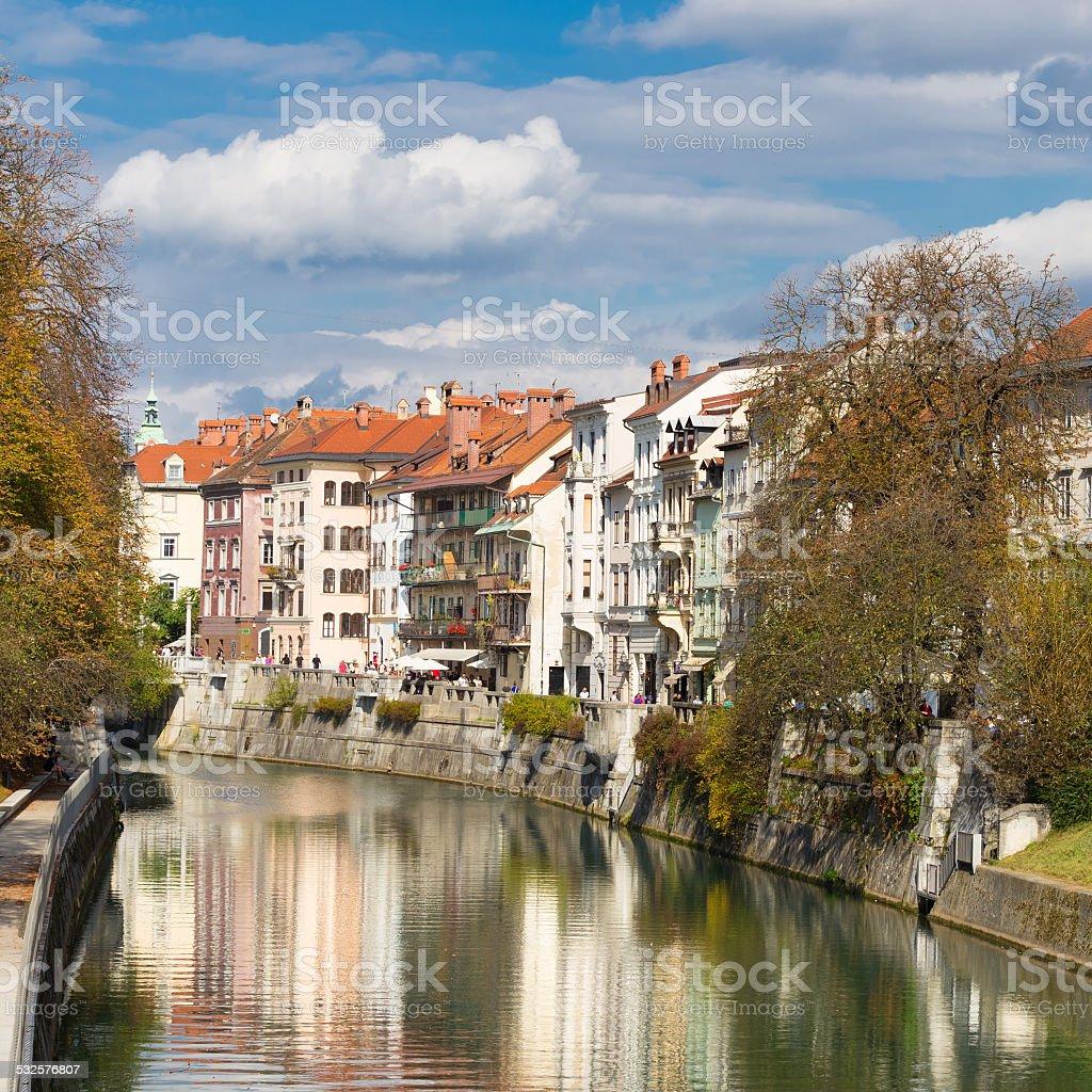 Mittelalterliche Häuser in Ljubljana (Slowenien). Lizenzfreies stock-foto