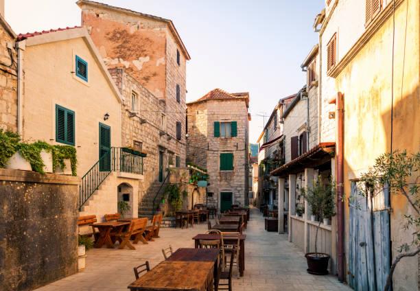 Medieval houses in Stari Grad, Croatia stock photo