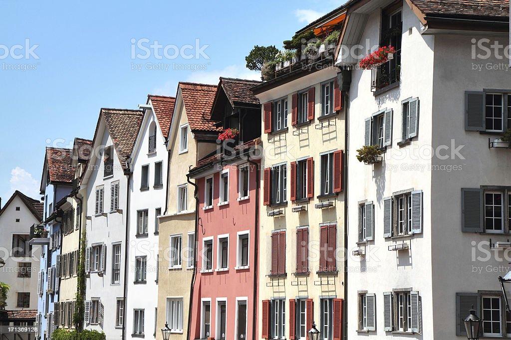 Medieval Houses of the Arcas, Chur, Graubünden, Switzerland stock photo