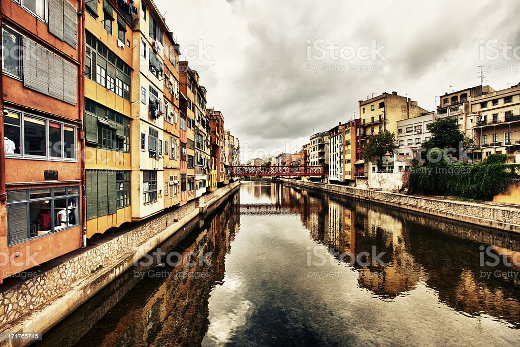 Medieval Houses of the Onyar, Girona royalty-free stock photo