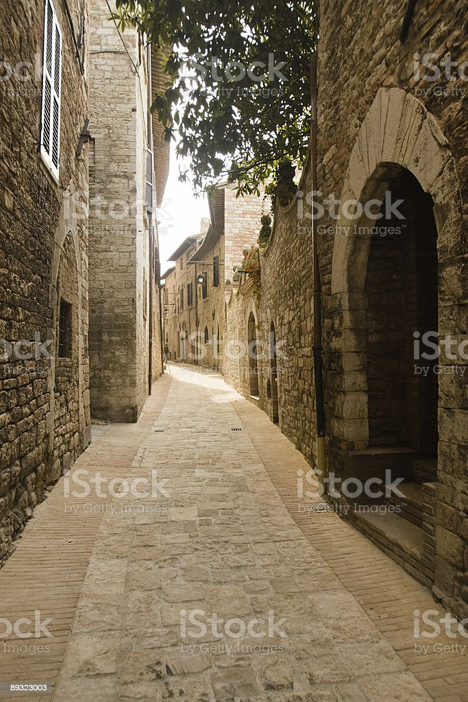 Medieval Italian paved street royalty-free stock photo