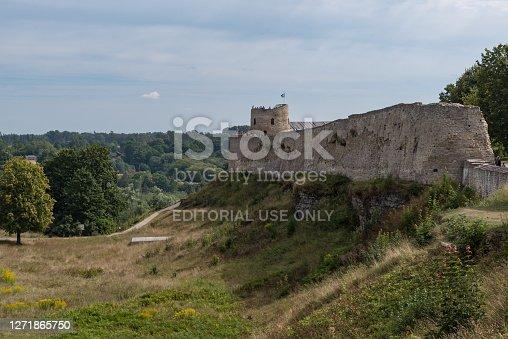 Medieval Izborsk fortress wall and Lukovka tower.  Izborsk, Pskov Region, Russia.