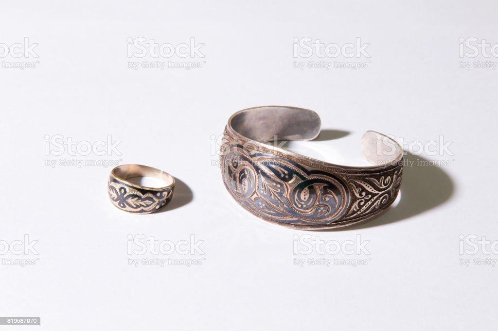 Medieval Kazakhstani accessories stock photo