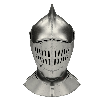 Medieval Knight Armet Helmet with visor. Front view. Used for tournaments or battlefields. 3D render Illustration Isolated on white background.