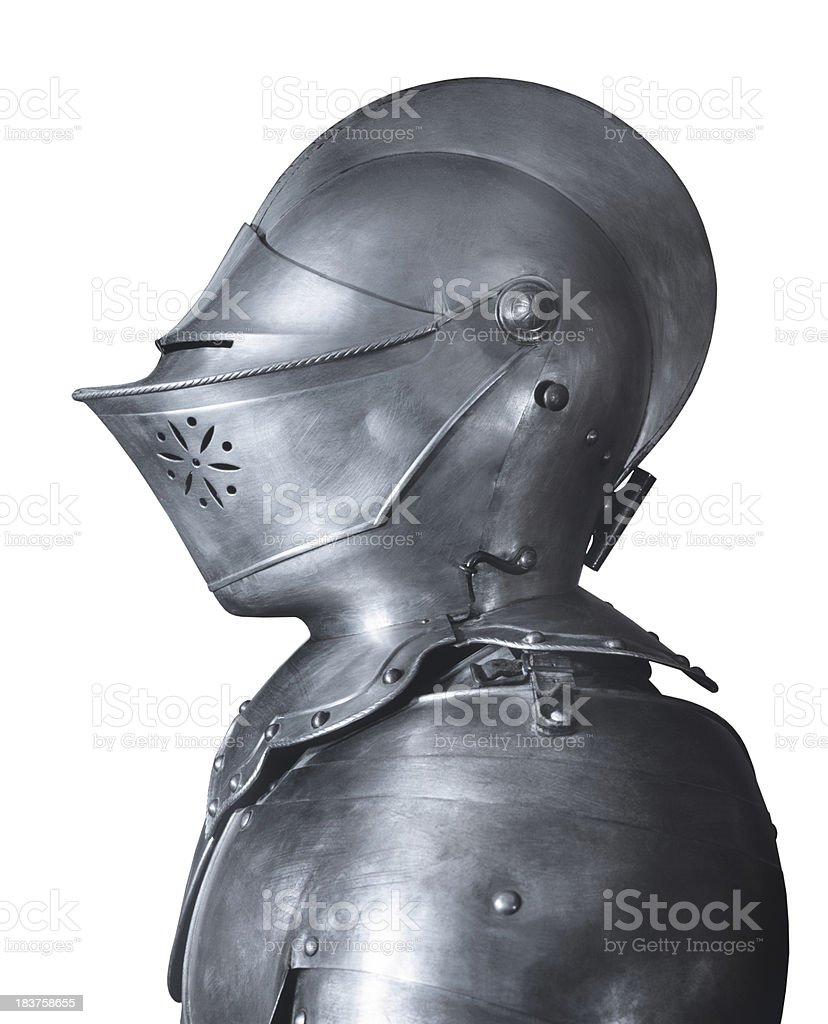 Medieval knight armour, side view, white background stock photo