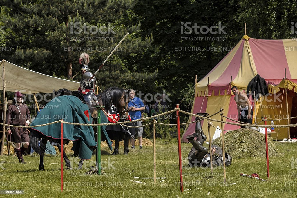 Medieval knight defeated in jousting royalty-free stock photo