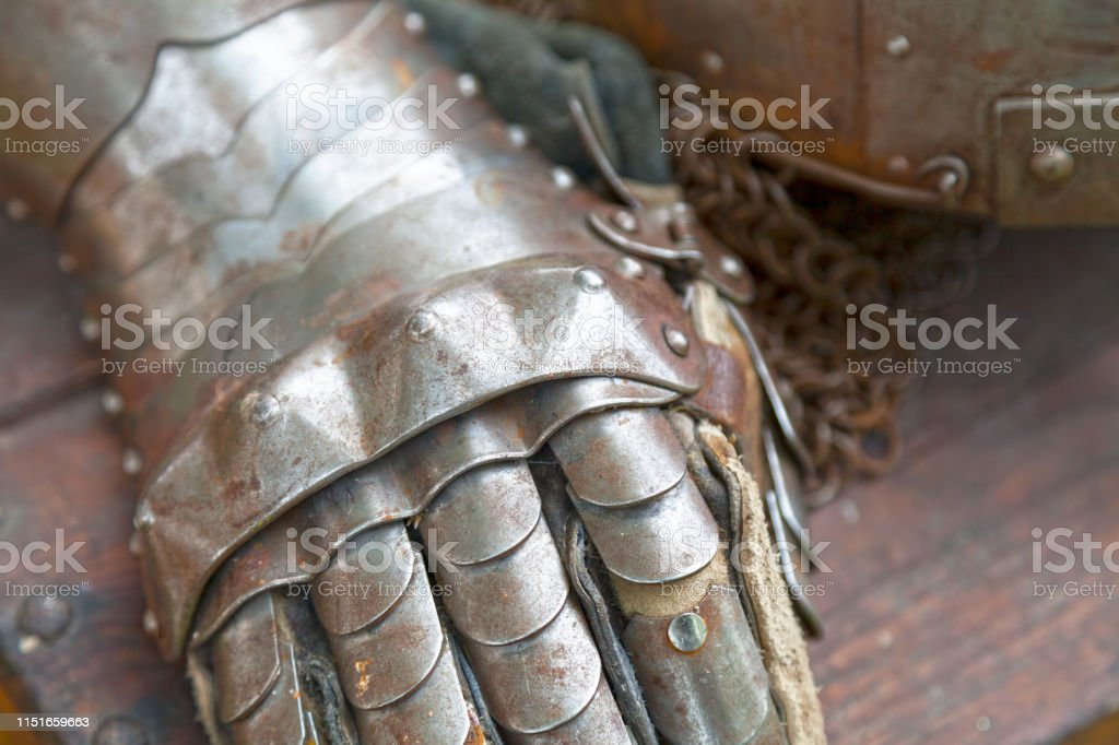Medieval Knight gauntlet stock photo