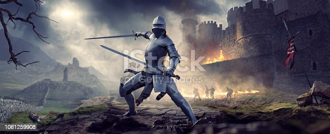 A knight in full armour with helmet, in combat pose with two swords ready to fight. The knight stands by a burning castle, with other knights fighting in the background. The knight is in a fantasy medieval landscape, under a dark and stormy sky.