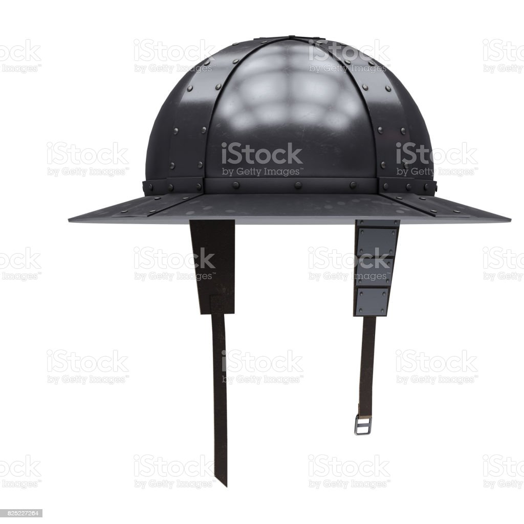 Medieval Knight Kettle Hat Helmet stock photo