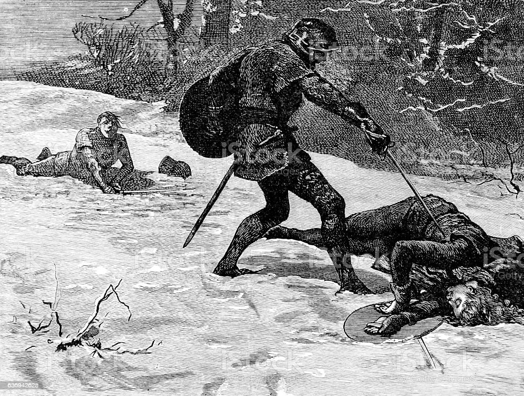 Medieval Knight Kills man with Sword in snow stock photo