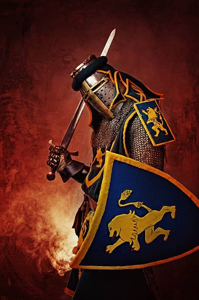 Medieval knight on abstract background. stock photo