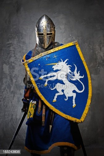 istock Medieval knight on grey background. 153243835