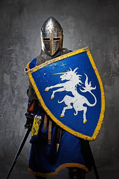 Medieval knight on grey background. stock photo