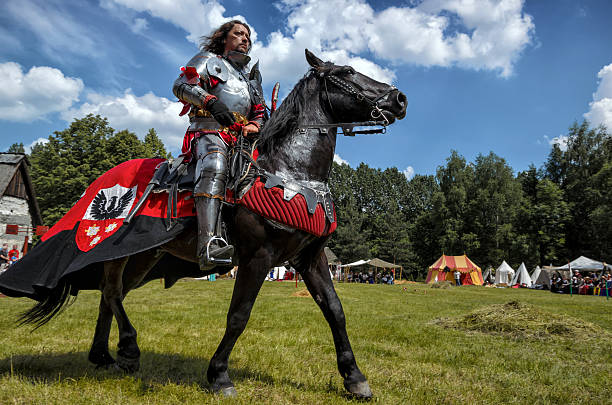 medieval knight on horseback - knight on horse stock photos and pictures