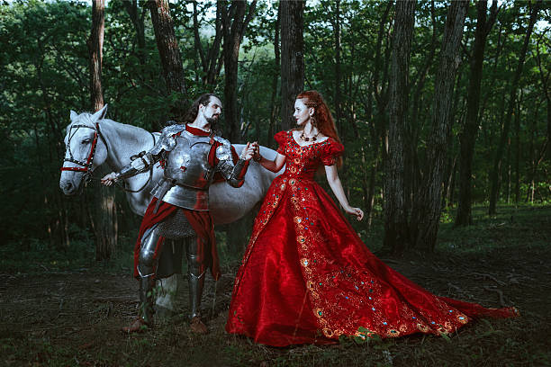 medieval knight with lady - knight on horse stock photos and pictures