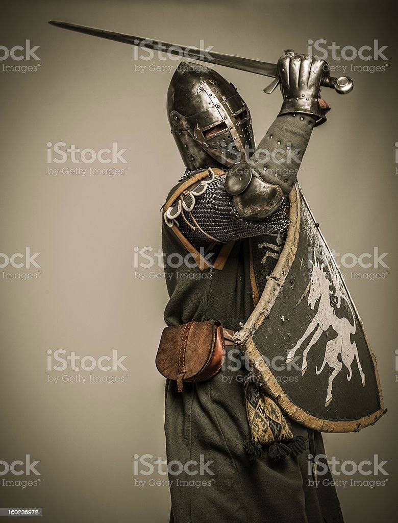 Medieval knight with sword and shield royalty-free stock photo