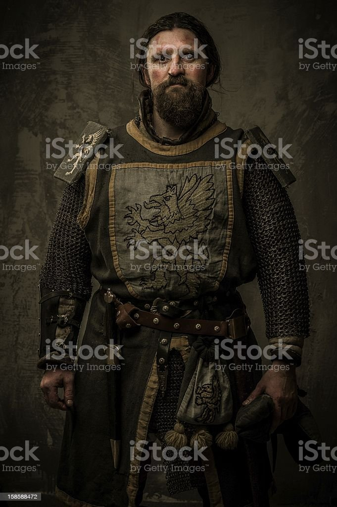 Medieval knight without weapon stock photo