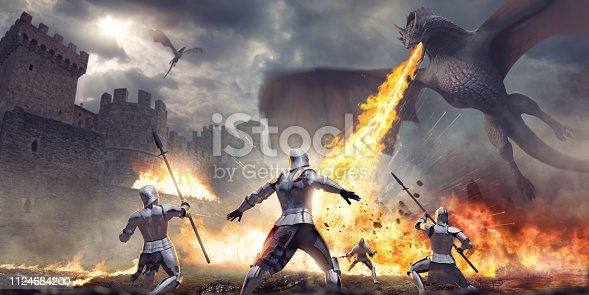 A dramatic and cinematic image of a group of four medieval knights, some holding spears, close to a castle standing in shock as a huge fire breathing dragon flies overhead. The dragon is breathing out a jet of fire in mid air over the ground causing debris to explode.